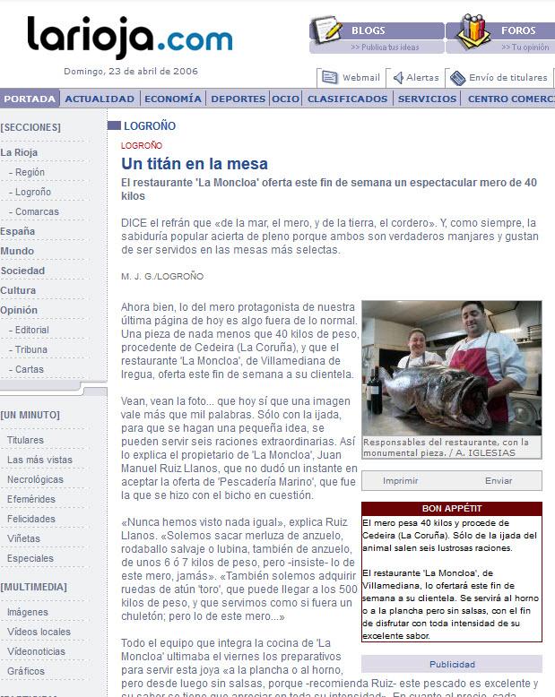 Mero de 40 Kilos en Restaurante La Moncloa. La Rioja.