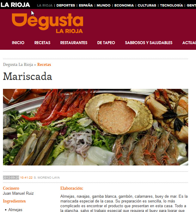 Mariscada en Restaurante La Moncloa, Villamediana de Iregua, La Rioja